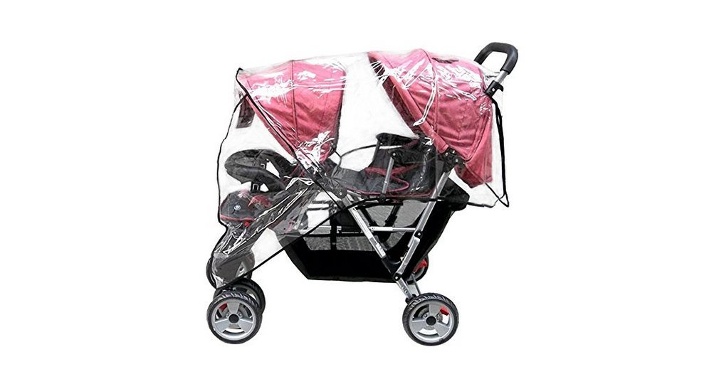 Ymkf Sqqr Weather Shield Double Popular for Swivel Wheel Stroller Universal Size Baby Rain Cover/Wind Shield Deal (Black)