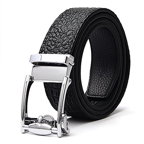 XIANGUO Leather Belts Men's Crocodile Belt Black - Crocodile Belt Strap