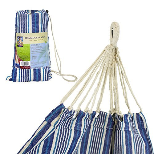 Hammock In A Bag - Blissliving Home Outdoor Hammock/Eco-Friendly Rope Hammock - Single Person Use - Colors May Vary - 220 Lb. Weight Capacity - Stand Not Included