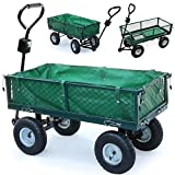 Yaheetech 4 Wheeled Utility Steel Metal Hand Truck Cart Trolley with Pneumatic Tire