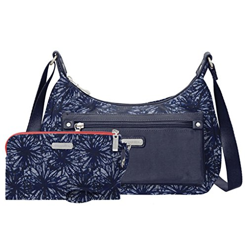 Earphones Out Floral amp; About Travel Bundle with RFID Bag Indigo Wristlet Shoulder Baggallini fvAypSS