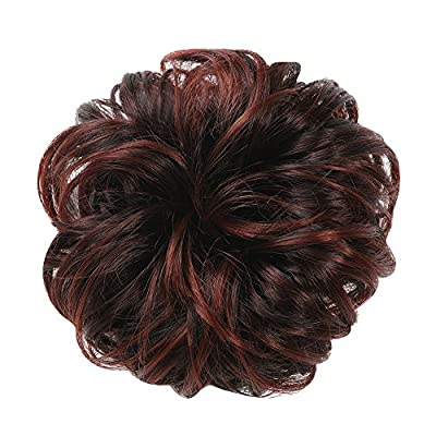 Merrylight Ladies Synthetic Wavy Curly Hair Bun Ribbon Extensions Ponytail Scrunchy Scrunchie Hair Hairpiece