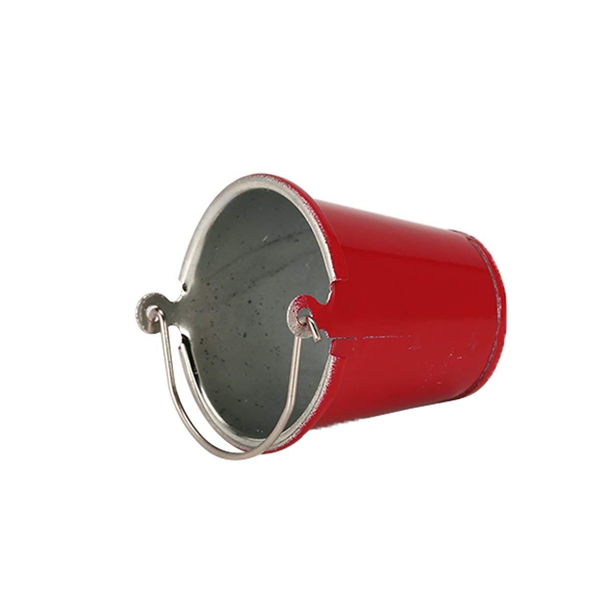 Tama/ño peque/ño Lorenlli Modelos de cucharas de Agua Aptos para SCX10 TRX4 RC Off-Road RC Crawler Car Axial High Simulation Metal Rojo Mini Cubo port/átil