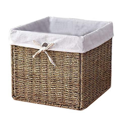 30CM Square Storage Basket Handmade Rattan Metal Frame Folding Storage Box Clothing Storage Basket Bookcase Basket(White) ()