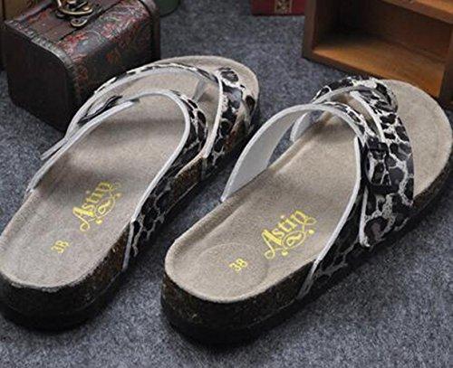 SK Studio - Zapatillas de estar por casa para hombre Leopard Beige Ground