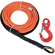"""Synthetic Winch Cable Line Rope 1/4"""" x 50' 7000+ LBs with Sheath Hook for ATV UTV SUV Truck Boat Ramsey (Red Hook, Orange Winch)"""