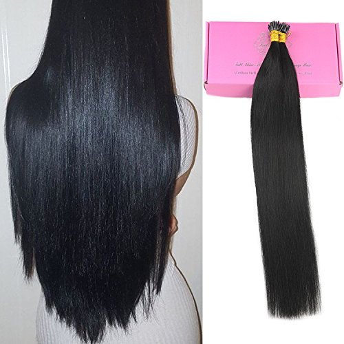 Full Shine 20 inches 50 Strands 40g Per Package Fusion Hair Extensions Human Hair Color#1 Jet Black I Tip Hair Extensions Remy 40g Package