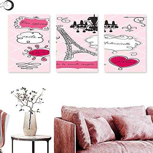 - J Chief Sky Teen Room Decor Wall hangings Doodle Frames French Style Rococo Baroque Lantern Mademoiselle Print Wall Panel Art Hot Pink Black Triptych Art Canvas W 24