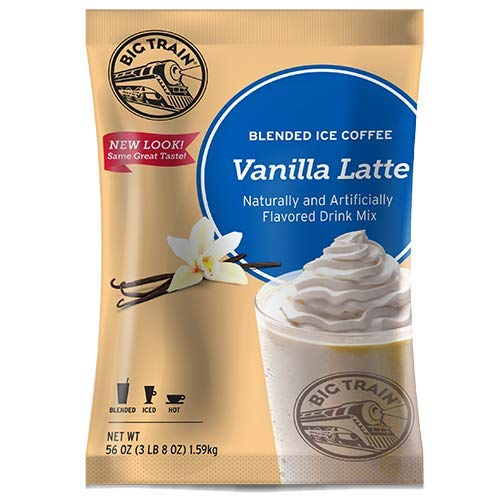 (Big Train Blended Ice Coffee Iced Coffee Mix Vanilla Latte 3lb Bulk Bag - Single Bag, Packing may vary)