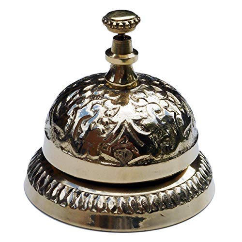 - UDL Solid Brass Victorian Style Desk Call Bell Desktop Ring Service Counter Bell Hotel Reception Bell 3 1/4