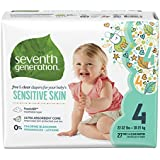 Seventh Generation Free and Clear Sensitive Skin Baby Diapers with Animal Prints, Size 4, 27 Count (Pack of 5)