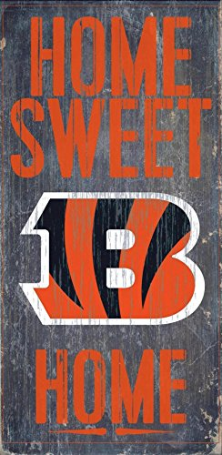 Cincinnati Bengals Official NFL 14.5 inch x 9.5 inch Wood Sign Home Sweet Home by Fan Creations 048357 by Fan Creations