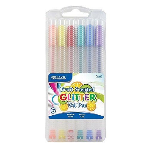 6 Pk. BAZIC 6 Fruit Scented Glitter Color Gel Pen with Case - Total 36 Pens