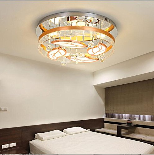 TiptonLight Gold Ceiling Light with 4 Leaves Crysta and Glass Modern Style for Living Room, Study,Kitchen, Bedroom, Restaurant