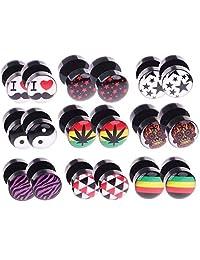 BodyJ4You 18PC Fake Plugs Logo Ear Gauges Cheater 00G Look 16G Acrylic Faux Studs Unisex Earrings