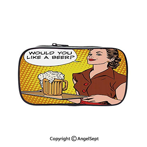 Cute Pencil Case - High Capacity,The Waitress with Tray Saying Would You Like a Beer Comics Pop Art Retro Decorative Multicolor 5.1inches,Multifunction Cosmetic Makeup Bag,Perfect Holder for Pencils]()