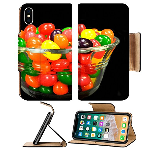 MSD Premium Apple iPhone X Flip Pu Leather Wallet Case Fruit jelly beans in many colors in a glass bowl on a black background IMAGE - Glasses Bean Chilli