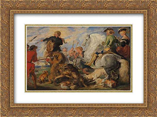 Sir Edwin Henry Landseer - 40x28 Gold Ornate Frame and Double Matted Museum Art Print - Copy After Rubens's Wolf and Fox Hunt