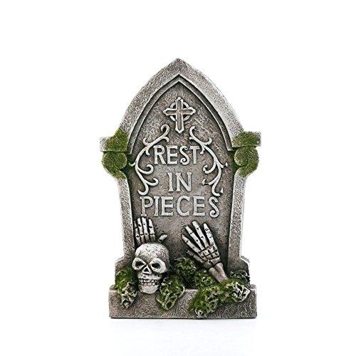 Mossy Skull Cross Tombstone Halloween Decor 6