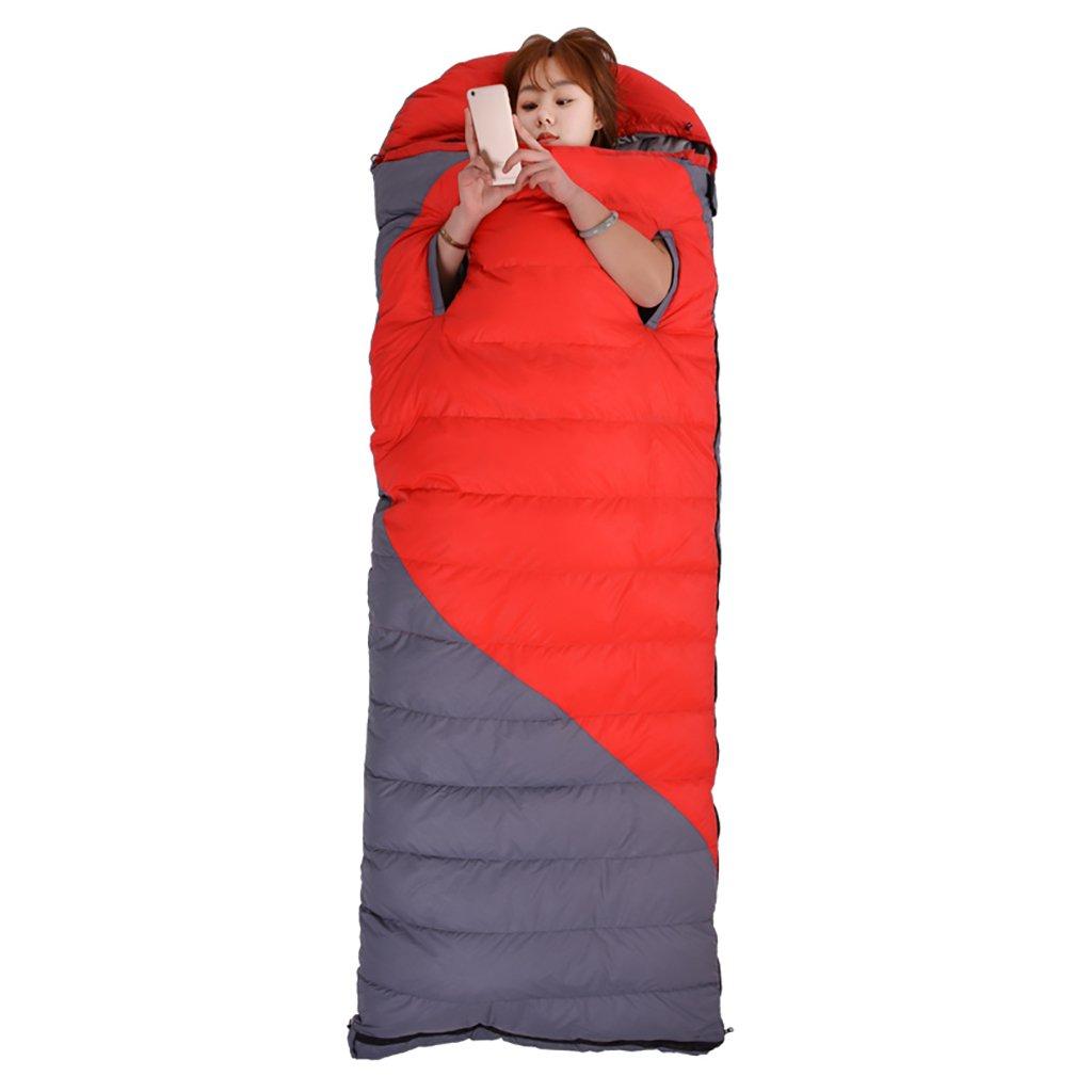 シングルスリーピングバッグ、暖かい、3シーズン、軽量、屋外キャンプ (色 : Red+gray, サイズ さいず : 1800g) B07FDZ7ZDG  Red+gray 1800g