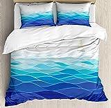 Aqua Comforter Set,Graphic Ocean Waves Sailboat Birds Seagulls Seascape Horizon Maritime Bedding Duvet Cover Sets Boys Girls Bedroom,Zipper Closure,4 Piece,Navy Blue Aqua White Twin Size