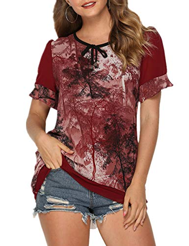 (Flowy Tunic for Women Floral Short Sleeve Chiffon Tops Ink Floral Blouse Shirt Wine Red )