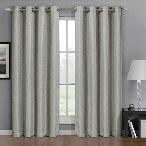 Pair Of Two Top Grommet Gulfport Faux Linen Blackout Weave Thermal Insulated Curtain Panels  Triple Pass Yarn Back Layer  Elegant And Contemporary Gulfport Blackout Panels  Set Of Two Linen 52  By 63  Panels  104  By 63  Pair