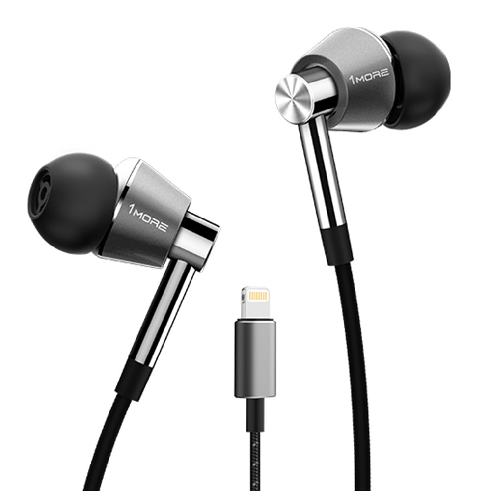 1MORE Triple Driver Lightning In-Ear Headphones (Earphones) In-built DAC, Apple MFi Certified ( All iPhone, iPad, iPod) with Microphone and Control Remote (Titanium)