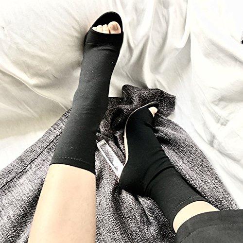 y con Calcetines Elásticas Tacones 39 Pescado Zapatos Botas Transparente Lleva con Boca ZHZNVX Altos Gruesos de El Nuevo Negro aqAYAv
