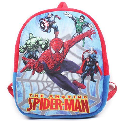 (Jewh New Spiderman Iron Batman Model schoolbags for Boys The Avengers Cartoon Design Plush Backpacks (Spiderman))