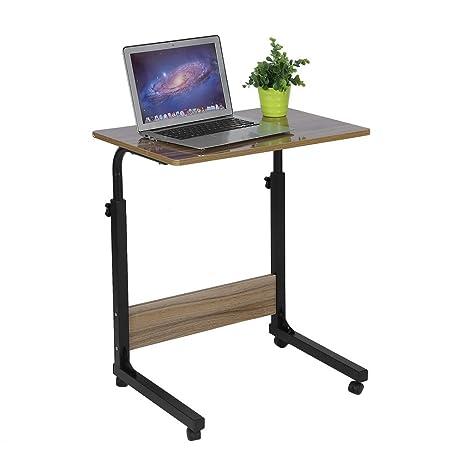 Homgrace Mesa de Ordenador portatil con Ruedas, Mesa Ordenador Altura Ajustable Ideal para hogar y