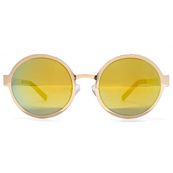 Miss KG Lunettes de soleil rondes métalliques feuilles plate en or pâle brillant MKG027 rh8cqEzcb