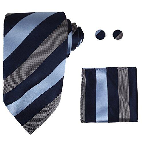 NEW Designer Navy Stripes 100% Jacquard Woven Silk Tie Hanky Mens Necktie and Cuff Links Blue Ties Cufflinks and Handkerchiefs Set H5029 148cm*9cm ()