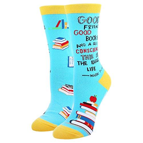 Women's Crazy Funny Quote Novelty Literary Book Teacher School Crew Socks]()