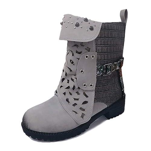 Minetom Mujer Botas Casual Planas Zapatos Otoño Invierno Retro Cuero Tacón Grueso Rivet Botines Ankle Boots: Amazon.es: Zapatos y complementos