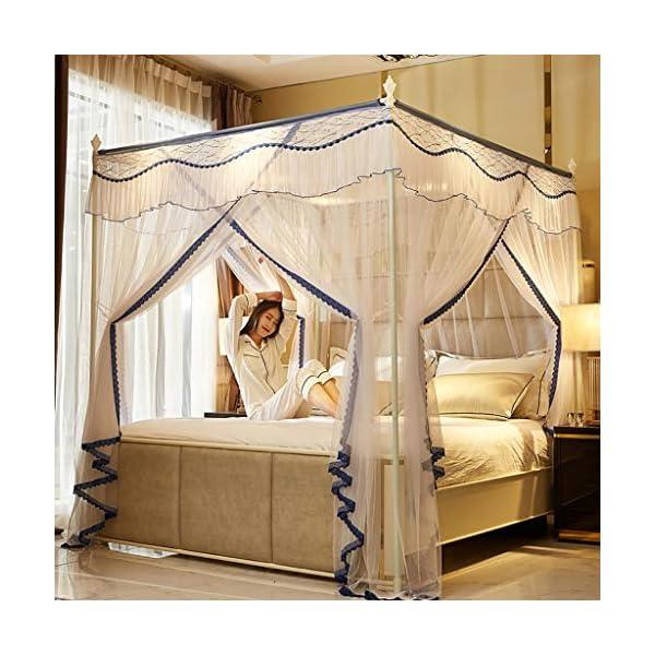 Princess 3 Side Aperture Messaggio letto a baldacchino cortina di zanzariere Net Biancheria da letto, 4 angolo Messaggio… 2 spesavip