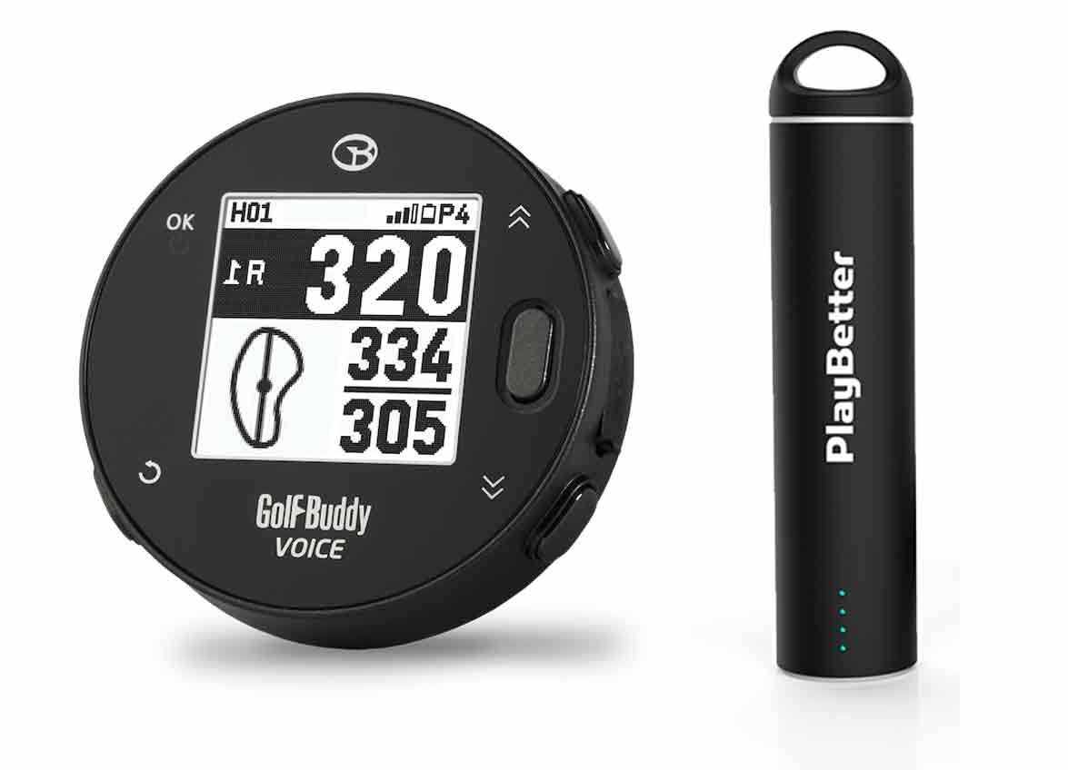 Golf Buddy Voice X with PlayBetter Portable Charger Bundle | Handheld Audio Golf GPS, 38,000 Worldwide Courses, Large Number Display, Bluetooth Updates