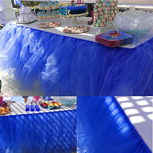 - Handmade Tutu Tulle Table Skirt for Princess Party Table Wedding Head Bridal Decor Tableware Lace Tablecloth for Parties Spooky Meals (Royal blue)