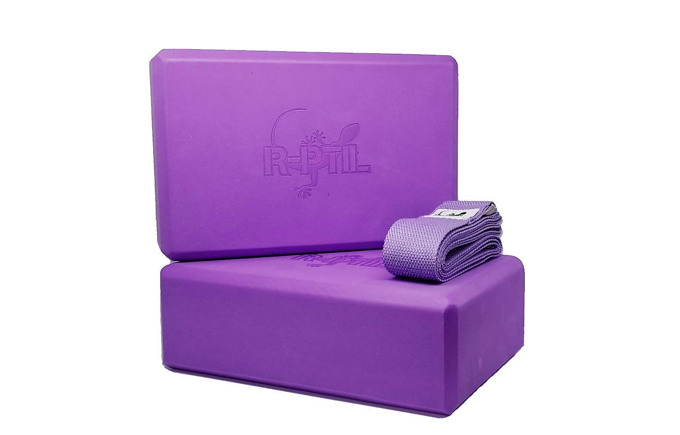 R-PTIL Yoga Block - Moisture Resistant high Density EVA Foam - Set of 2 Basic Blocks and 100% Cotton Strap, Ideal for Meditation and Flexible ...