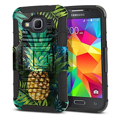 FINCIBO Case Compatible with Samsung Galaxy Core Prime G360 Prevail LTE, Dual Layer Hybrid Armor Protector Case Cover Stand Soft TPU for Galaxy Core Prime G360 - Pineapple Tropical Leaf in Galaxy