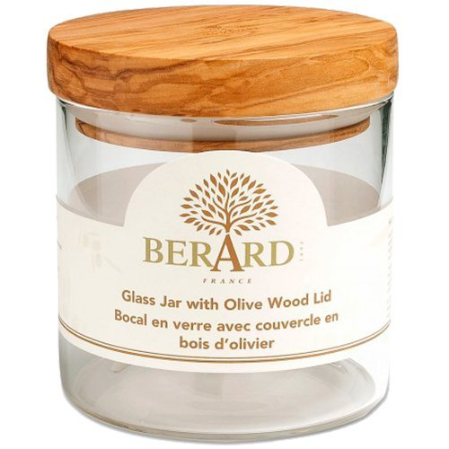 (Berard Glass Storage Jar with Olive Wood Lid, 13.5-Ounce)