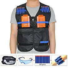 Kids Tactical Vest Sets for Nerf Toy Guns N-strike Elite - Black (comes with Seamless Skull Face Mask+Protective Goggles+50pcs Foam Darts+2pcs 5-dart Quick Reload Clip+2pcs Refill Darts Wrist Belt)