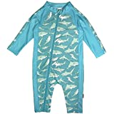 SwimZip Little Boy Long Sleeve Sunsuit with UPF 50 Sun Protection Sharks Blue 18-24 Month