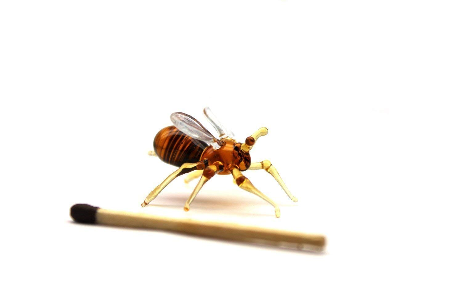 Small Glass Bee insect - Figurines Miniature Mini Bee - Little Glass Animals Murano Gift Blown - Western Honeybees - State Pollinator