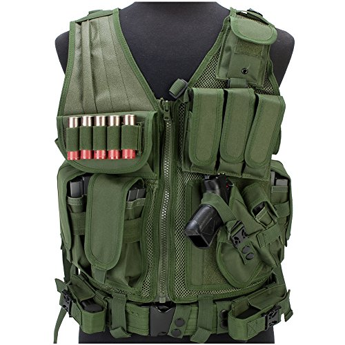 (Evike Matrix Special Force Cross Draw Tactical Vest w/Built in Holster & Mag Pouches - Olive Drab Green - (28492))