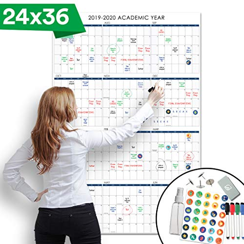Lushleaf Designs - 2019-2020 Dry Erase Academic School Year Calendar - 24x36 Inches - Large Month Planner Whiteboard Poster - Starts on July 2019 to June 2020 (Project Calendar)