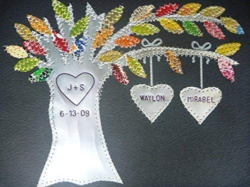 Personalised Embroidered Picture Gift Framed Wedding Family Anniversary Hearts