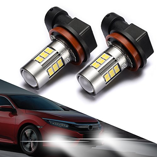 Honda Lights Driving (SEALIGHT H11/H8 LED Fog Lights Bulbs, Upgrade H16 LED Lamps DOT Approved, Cool Xenon White 6000K, 1 Yr Warranty (Pack of 2))