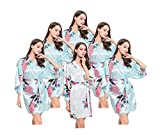 6 Satin Bridesmaids Robes, One Size Fits 0-14, 5 Lt Blue, 1 White, Kimono Wrap Style by Modern Celebrations