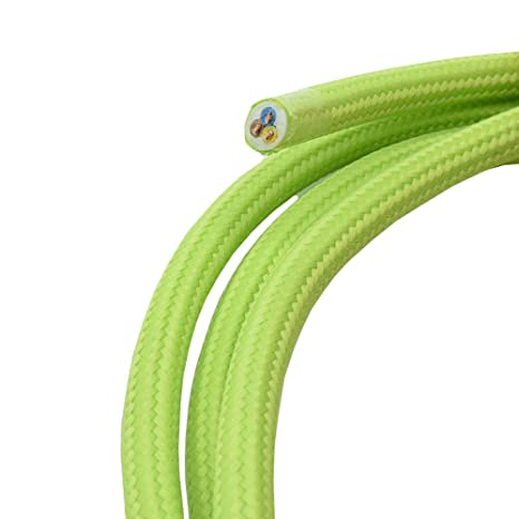 10 metros de cable de tela verde neón pistaziengrün 3 hilos 0,75 ...